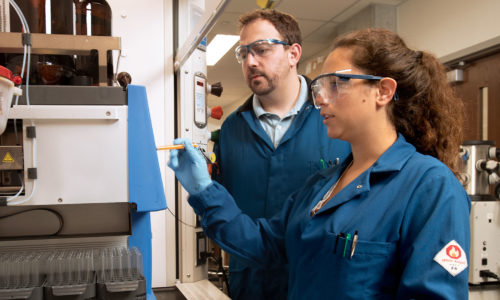 Summer REU student Katherine Acosta with Prof. Matthew Webber